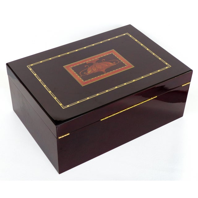 Metal Reed & Barton Williamsburg Collection Silver Chest With Marquetry For Sale - Image 7 of 10