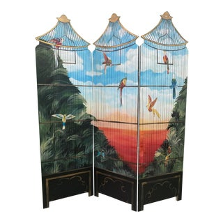 Large Hand Painted Birdcage 3 Panel Screen Room Divider For Sale