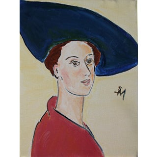 """""""The Blue Hat"""" Contemporary Painting by Sarah Myers For Sale"""