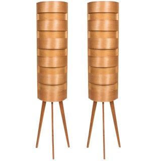 1960s Scandinavian Modern Hans-Agne Jakobsson for Ab Ellysett Wood Tripod Floor Lamps - a Pair For Sale