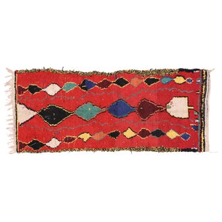 Berber Moroccan Red Runner with Tribal Design, 3'5x8 For Sale