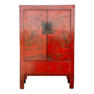 Antique Red & Gilt Chinoiserie Armoire For Sale