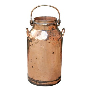 Antique French Country Copper Farmhouse Milk Jug For Sale