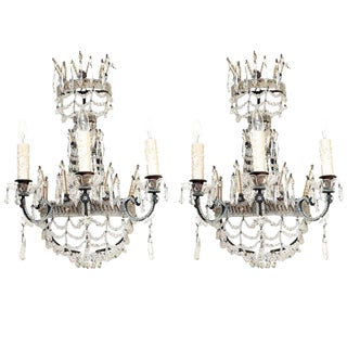 Pair of Beaded Maria Theresa Three-Light Sconces For Sale