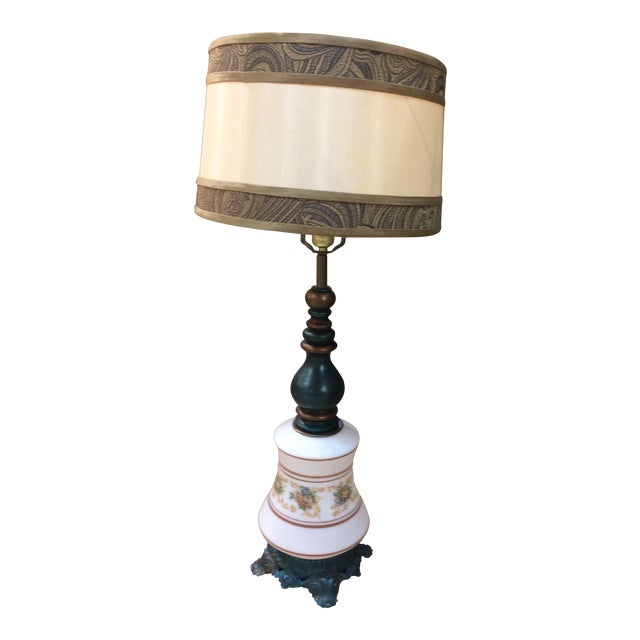 Antique Turquoise Brass Base Table Lamp - Image 1 of 5
