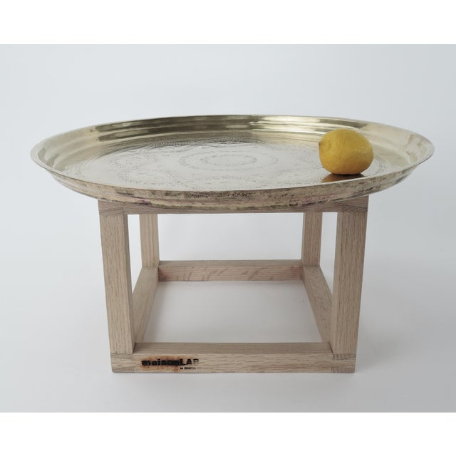Modern Brass and Copper Tea Accent Table For Sale - Image 4 of 8