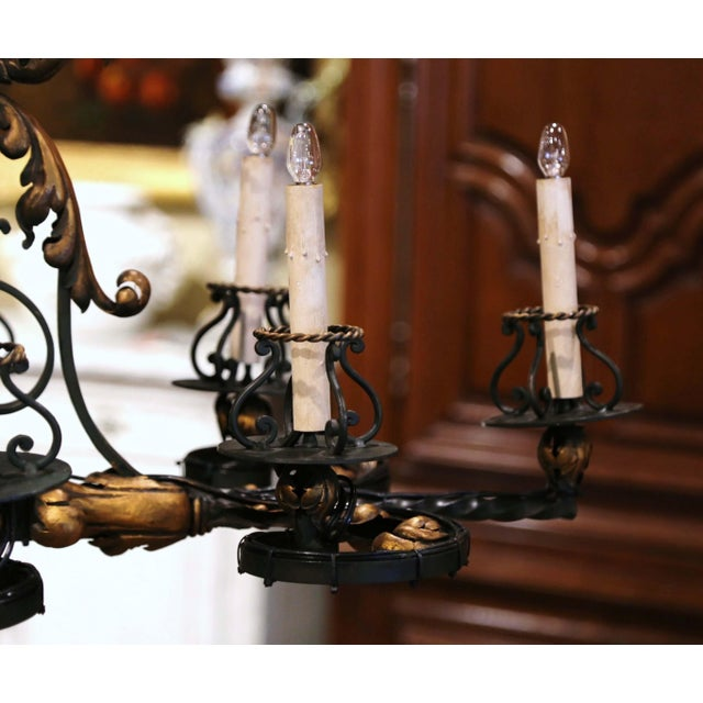 Early 20th Century French Painted & Gilt Iron Flat Bottom Ten-Light Chandelier For Sale - Image 10 of 13