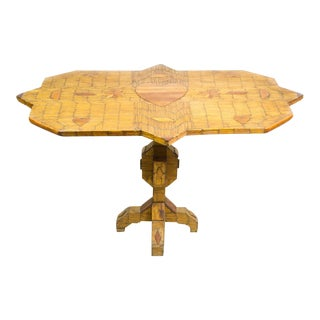 Folk Art Hand-Crafted Matchstick Occasional Table