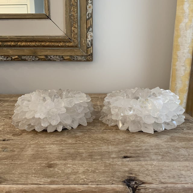 Large White Rock Crystal Votive Candle Holders- a Pair. Stunning and versatile for table top.