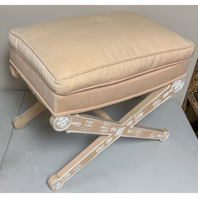 This is for a 1970s painted Italian x-bench. The cotton linen blend upholstery is vintage and in very good condition. The...