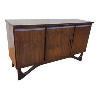 Adrian Pearsall Style Mid Century Modern Walnut Petite Storage Cabinet For Sale