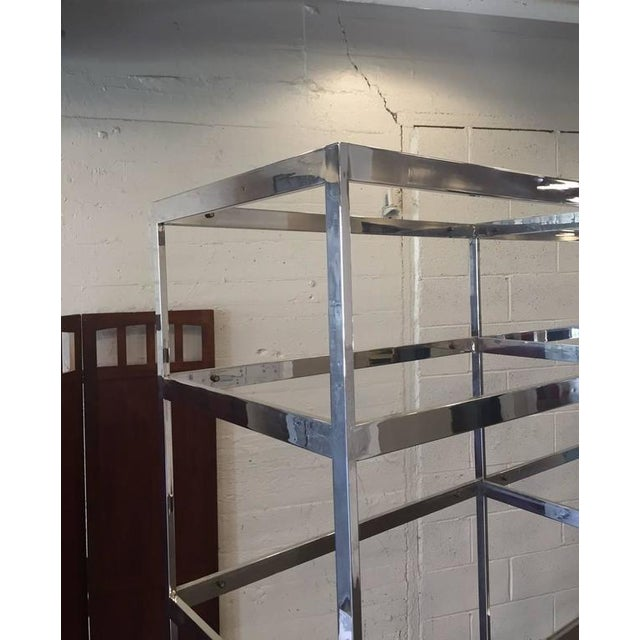 Chrome Etagere with Glass Shelves For Sale - Image 4 of 5