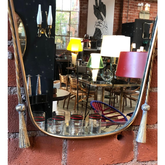 Italian Curvilinear Brass Mirror, 1950s For Sale In Los Angeles - Image 6 of 9
