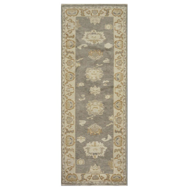 New Turkish Oushak Rug - 2'5'' x 7'3'' For Sale