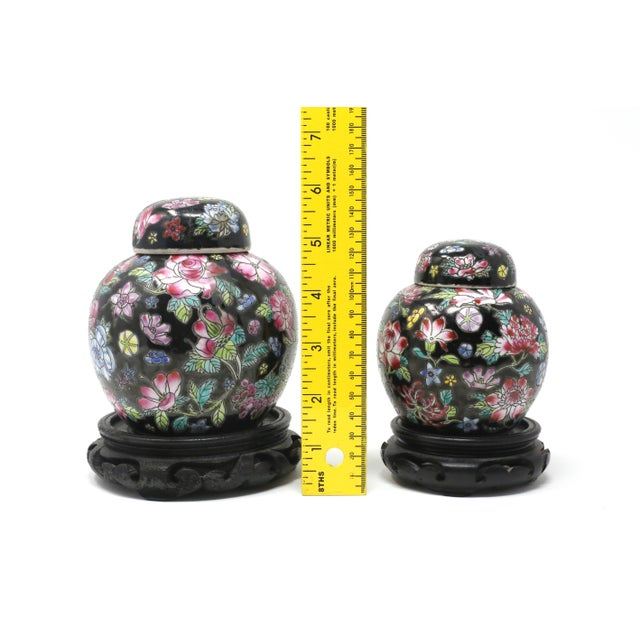 Vintage Petite Black Ginger Jars With Colorful Flowers and Wood Stands - Set of 2 For Sale - Image 10 of 11