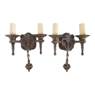 Spanish Revival Wrought Iron Sconces-A Pair For Sale