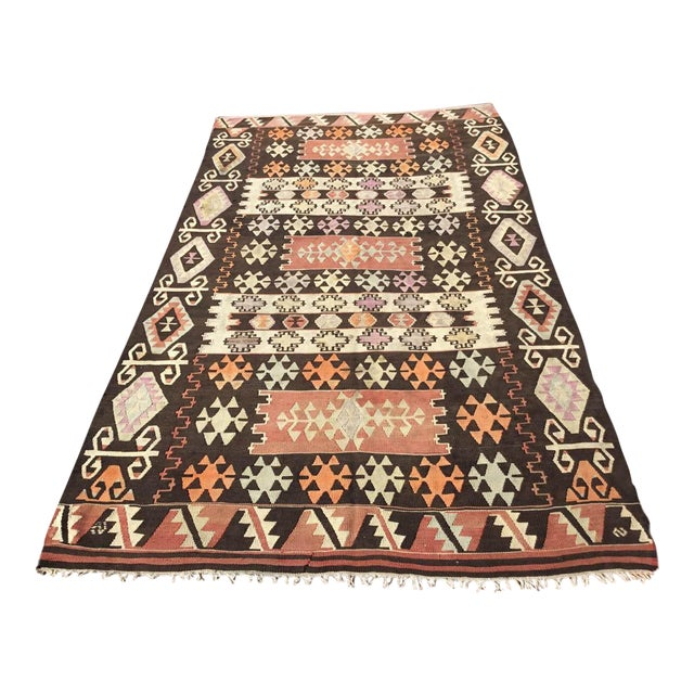 Vintage Turkish Kilim Rug - 5′1″ × 8′7″ For Sale