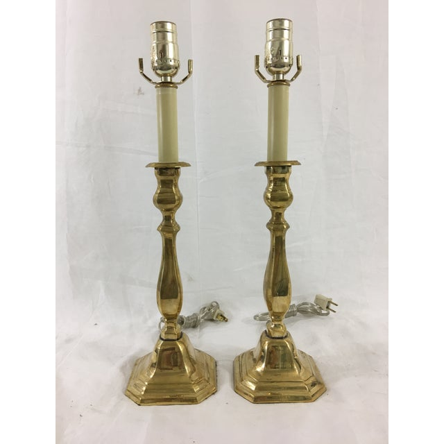 English Brass Candlestick Lamps - a Pair For Sale - Image 13 of 13
