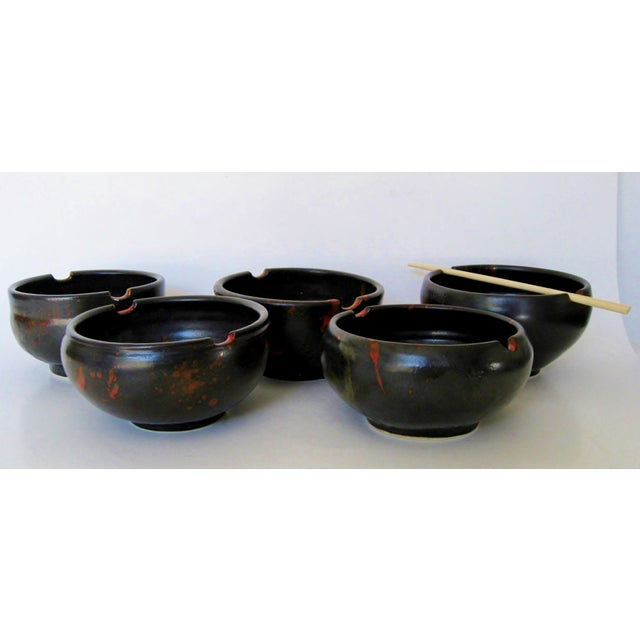 Japanese Ceramic Rice Bowls - Set of 5 - Image 4 of 7