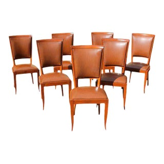 Classic French Art Deco Solid Mahogany Dining Chairs Circa 1940s - Set of 7