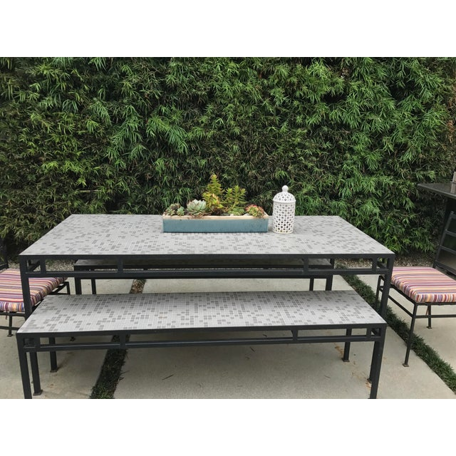 Iron & Mosaic Tile Dining Set - Set of 5 - Image 3 of 11