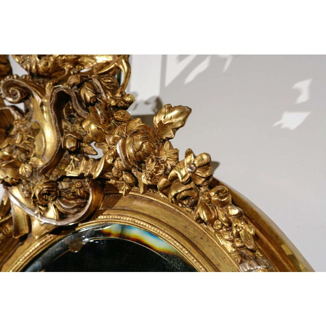 Gold French Gilt Mirror with Love Birds For Sale - Image 8 of 8