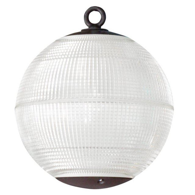 Large Holophane Glass Sphere Globe Light For Sale In New York - Image 6 of 7
