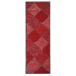"Rug & Kilim's Scandinavian Inspired Moroccan Style Red Runner Rug - 3'3"" x 9'10"" For Sale"