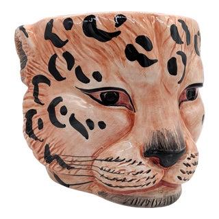 20th Century Italian Leopard Head Planter For Sale