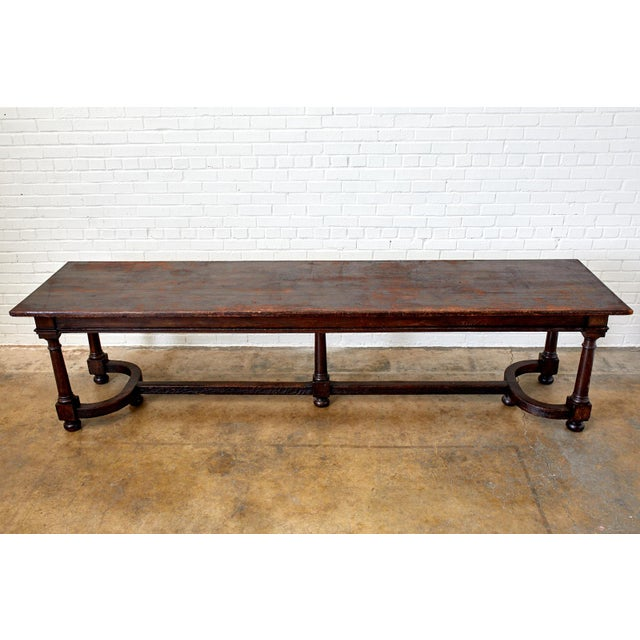 Grand 19th century English refectory, banquet, harvest or dining table. Handcrafted from oak featuring a 10 foot long...