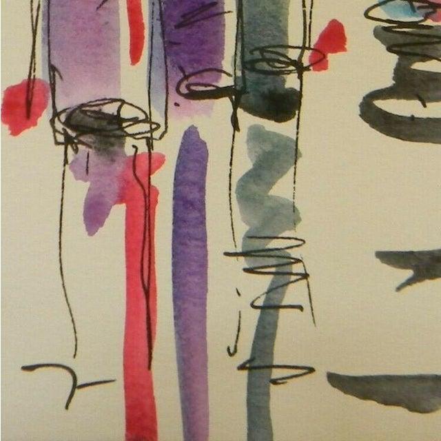 "Jose Trujillo Original Watercolor Painting of Small Wine Bar - 3x6"" For Sale - Image 4 of 4"