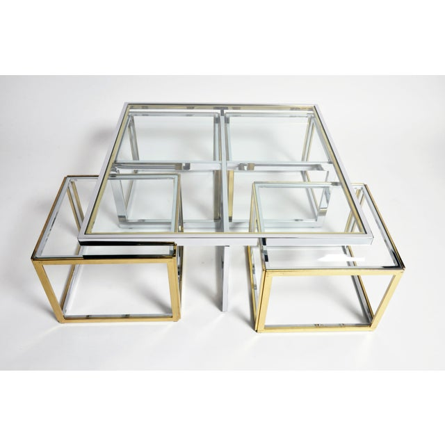 Contemporary 1970s Five-Piece Brass Table Set With Glass Top For Sale - Image 3 of 13