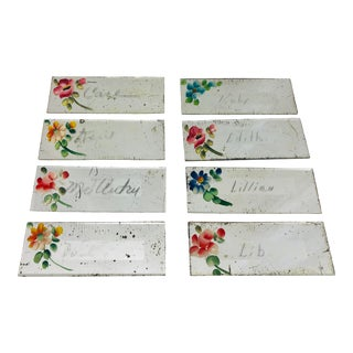 Set Antique Hand Painted Table Place Cards For Sale