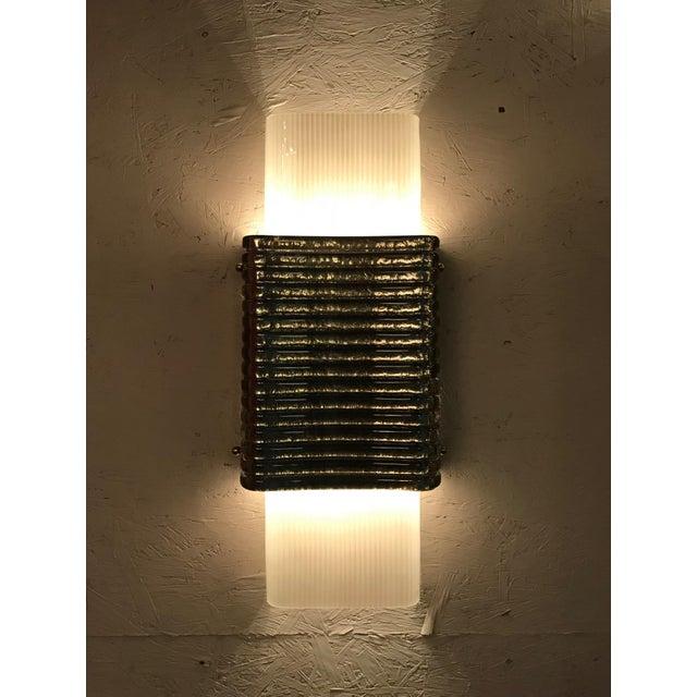 Art Deco Righe Sconces / Flush Mounts by Fabio Ltd - a Pair For Sale - Image 3 of 11