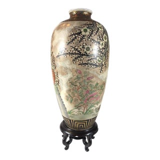 Hand-Painted Decorative Jar On Wood Stand