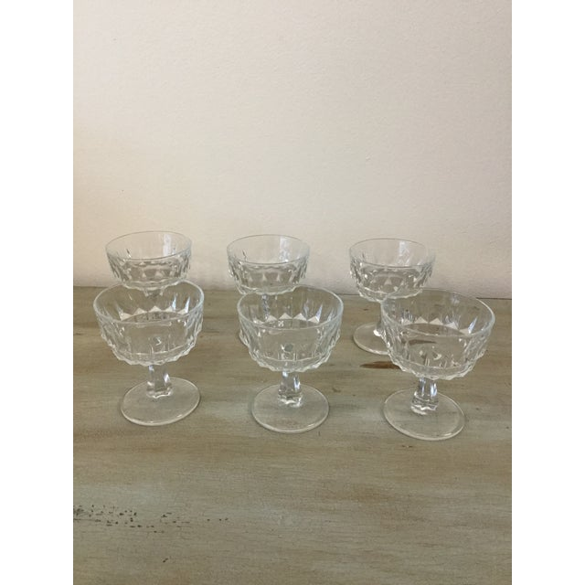 Set of six vintage crystal Arcoroc with diamond paten made in France cocktail goblet glasses in mint condition, beautiful...