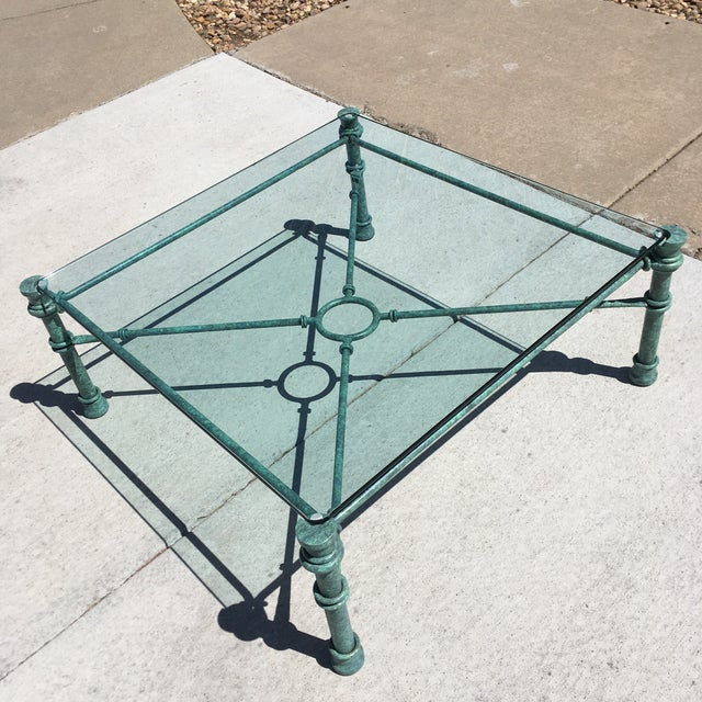 Metal Mid-Century Modern Patinated Bronze Base Heavy Glass Top Coffee Table After Giacometti For Sale - Image 7 of 13