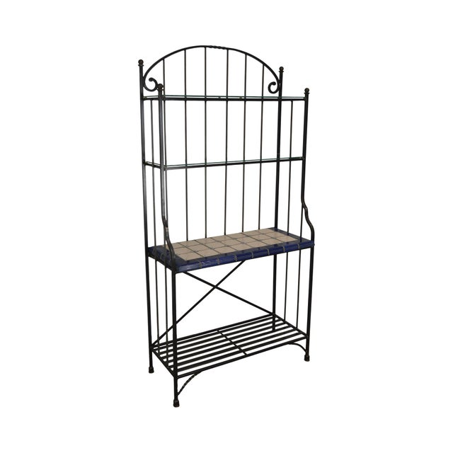 Quality Hand Forged Iron Bakers Rack With Tile Shelf For Sale - Image 9 of 9
