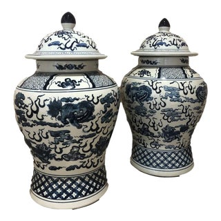 Chinoiserie Blue Ginger Jars - a Pair For Sale