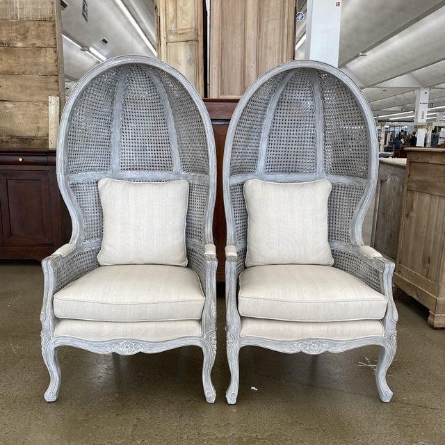 French Balloon Caned Porters Canopy Chairs - a Pair For Sale - Image 13 of 13