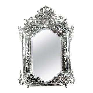 Etched Glass Framed Venetian Hanging Wall Mirror For Sale