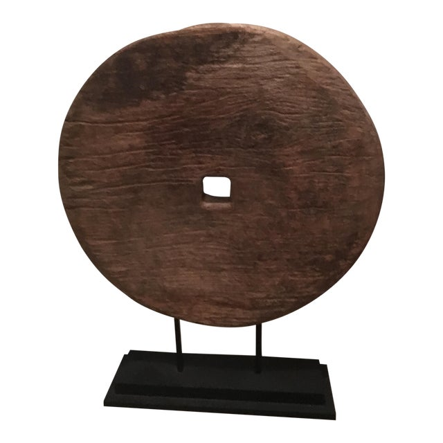 Antique Asian Mounted Wooden Wheel - Image 1 of 3