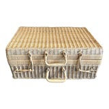 Image of French Wicker Suitcase For Sale