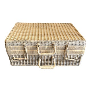 French Wicker Suitcase For Sale
