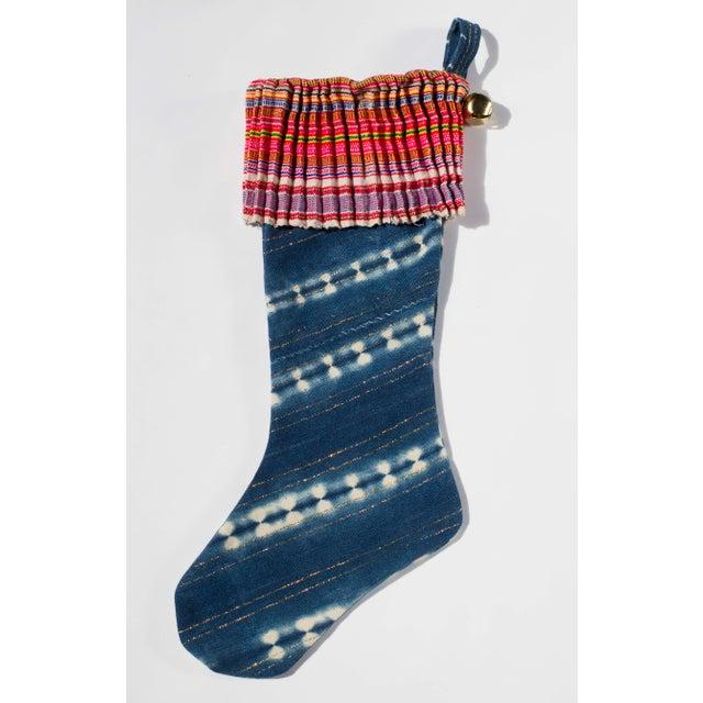 Vintage Indigo Christmas Stocking - Image 2 of 6