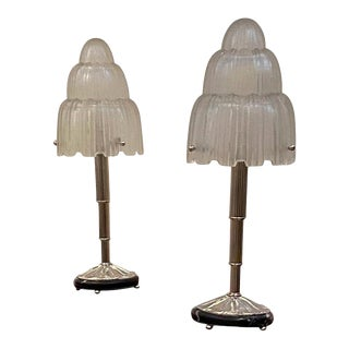 """French Art Deco """"Waterfall"""" Table Lamps Signed by Sabino - a Pair For Sale"""