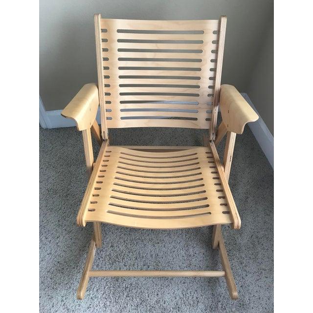 Rex Kralj Rex Beech Natural Rocking Foldable Chair Chairish