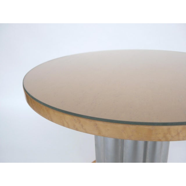 Deco Style Round Chrome & Sycamore Side Tables - A Pair - Image 8 of 10
