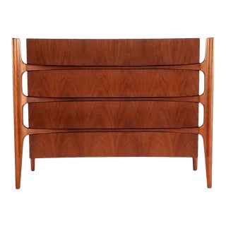 1950s William Hinn Curved 4 Drawer Dresser For Sale