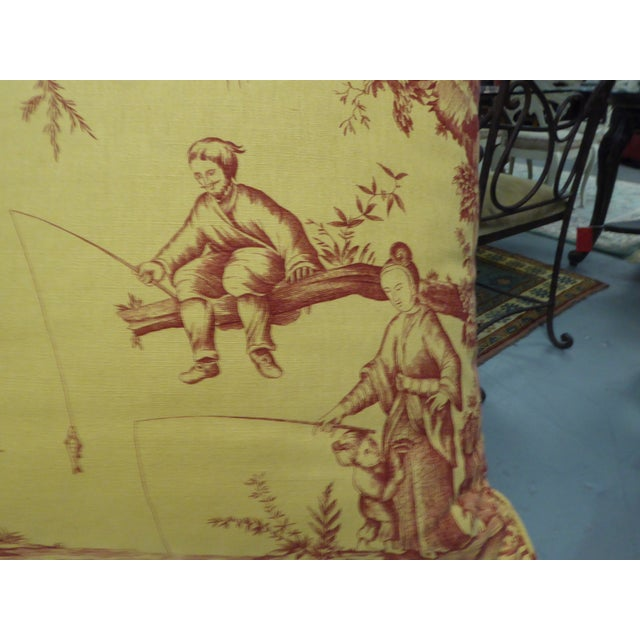 Large Pillow with Fishing Scene Details - Image 4 of 4